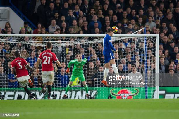 Chelsea's Alvaro Morata scores the opening goal during the Premier League match between Chelsea and Manchester United at Stamford Bridge on November...