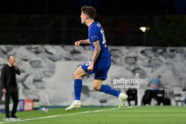 Chelsea's American midfielder Christian Pulisic celebrates after scoring during the UEFA Champions League semi-final first leg football match between...