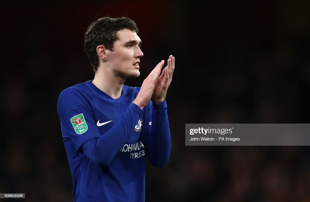 Chelsea's Andreas Christensen after the final whistle during the Carabao Cup semi final, second leg match at The Emirates Stadium, London.