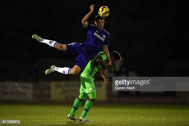 Chelsea's Andreas Christensen and Borussia Monchengladbach's BaMuaka Simakala during a Premier League International Cup match between Chelsea U21 and...