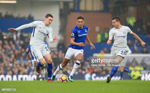 Chelsea's Andreas Christensen and Cesar Azpilicueta challenge Everton's Dominic CalvertLewin for the ball during the Premier League match at Goodison...