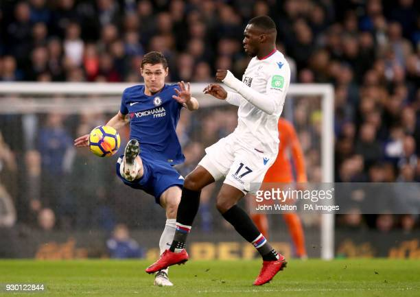 Chelsea's Andreas Christensen and Crystal Palace's Christian Benteke battle for the ball during the Premier League match at Stamford Bridge London