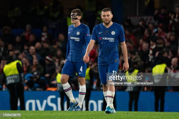 Chelsea's Andreas Christensen and Mateo Kovacic react to Bayern Munich's opening goal during the UEFA Champions League round of 16 first leg match...