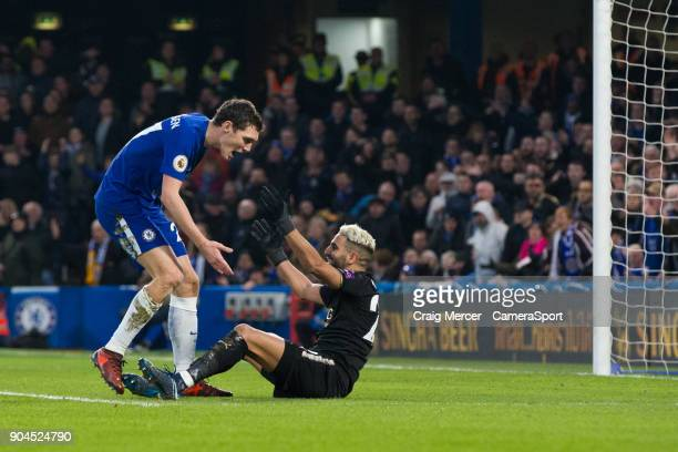 Chelsea's Andreas Christensen argues with Leicester City's Riyad Mahrez appearing to claim he dived in the penalty box during the Premier League...