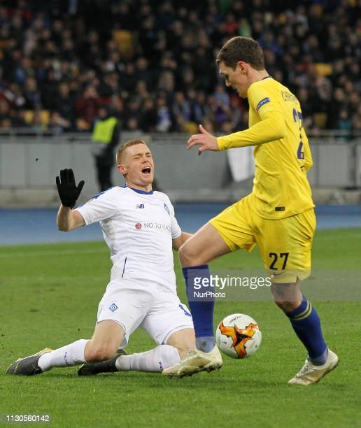 Chelsea's Andreas Christensen fights for the ball with Dynamo Kyiv's Viktor Tsygankov during the UEFA Europa League second leg football match between...