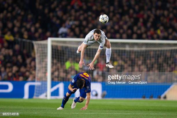 Chelsea's Andreas Christensen fouls Barcelonas Luis Suarez with an unconventional challenge during the UEFA Champions League Round of 16 Second Leg...