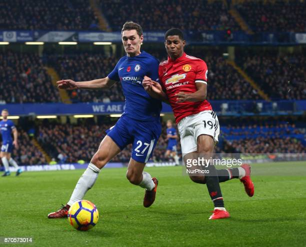 LR Chelsea's Andreas Christensen holds of Manchester United's Marcus Rashford during the Premier League match between Chelsea and Manchester United...