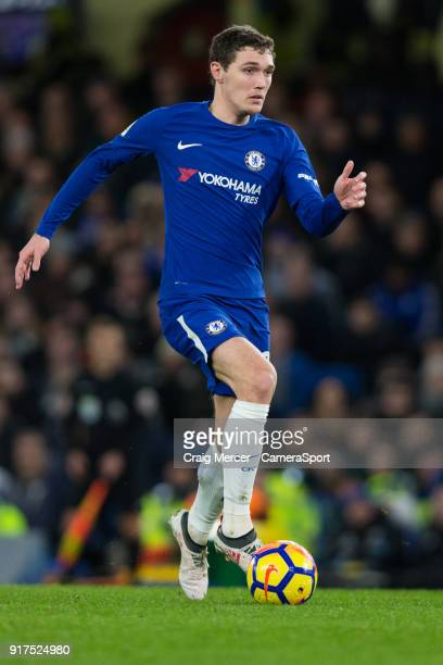 Chelsea's Andreas Christensen in action during the Premier League match between Chelsea and West Bromwich Albion at Stamford Bridge on February 12...
