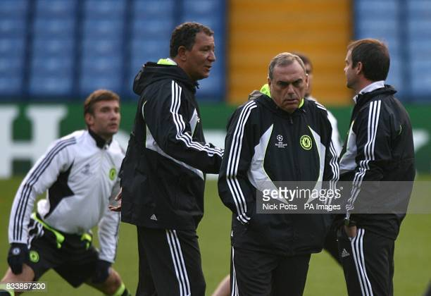 Chelsea's Andriy Shevchenko assistant manager Henk Ten Cate Manager Avram Grant and joint assistant manager Steve Clarke during training