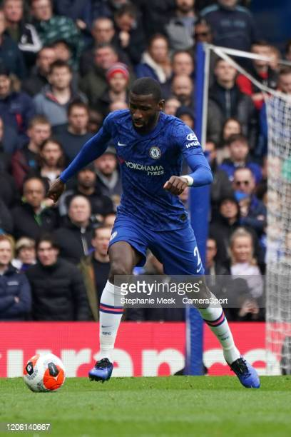 Chelsea's Antonio Rudiger during the Premier League match between Chelsea FC and Everton FC at Stamford Bridge on March 8 2020 in London United...