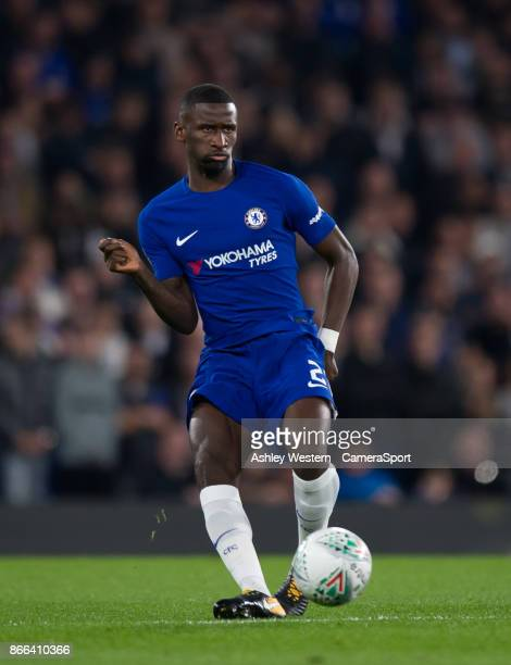 Chelsea's Antonio Rudiger in action during the Carabao Cup Fourth Round match between Chelsea and Everton at Stamford Bridge on October 25 2017 in...