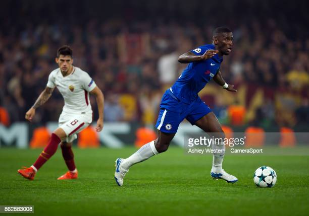 Chelsea's Antonio Rudiger in action during the UEFA Champions League group C match between Chelsea FC and AS Roma at Stamford Bridge on October 18...