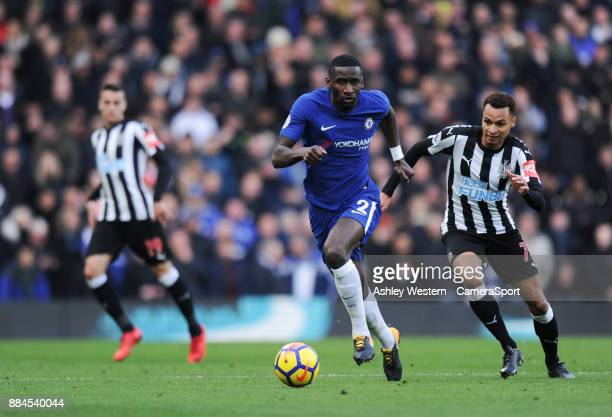 Chelsea's Antonio Rudiger under pressure from Newcastle United's Jacob Murphy during the Premier League match between Chelsea and Newcastle United at...