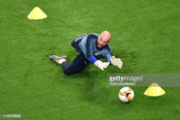 TOPSHOT Chelsea's Argentinian goalkeeper Willy Caballero practices during a training session at the Baku Olympic Stadium in Baku on May 28 2019 on...