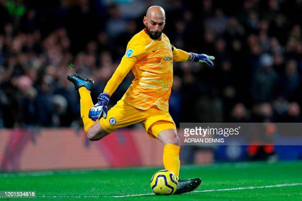 Chelsea's Argentinian goalkeeper Willy Caballero takes a kick during the English Premier League football match between Chelsea and Manchester United...