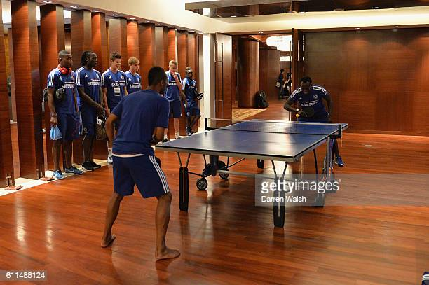 Chelsea's Ashley Cole Michael Essien play table tennis before a training session at the ShangriLa Hotel Bangkok