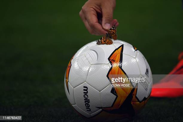 Chelsea's assistant coach picks up a butterfly from a football during a training session at the Baku Olympic Stadium in Baku on May 28 2019 on the...
