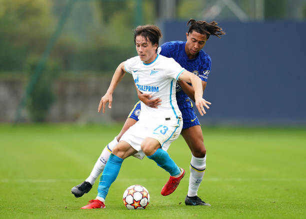 Chelsea's Bashir Humphreys and Zenit St. Petersburg's Andrey Maryanov battle for the ball during the UEFA Youth League, group H match at Cobham...