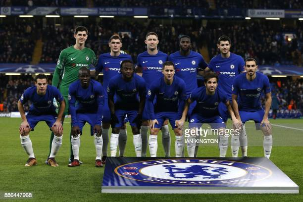 Chelsea's Belgian goalkeeper Thibaut Courtois Chelsea's Danish defender Andreas Christensen Chelsea's English defender Gary Cahill Chelsea's French...