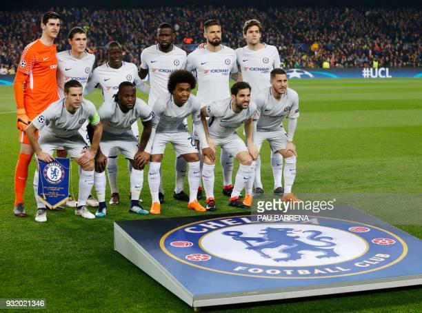 Chelsea's Belgian goalkeeper Thibaut Courtois Chelsea's Danish defender Andreas Christensen Chelsea's French midfielder N'Golo Kante Chelsea's German...