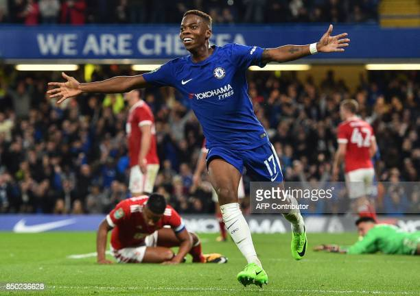 Chelsea's Belgian midfielder Charly Musonda celebrates scoring his team's third goal during the English League Cup third round football match between...