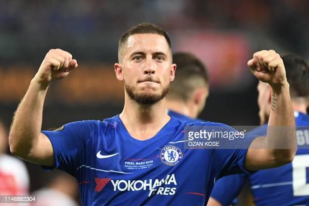 Chelsea's Belgian midfielder Eden Hazard celebrates after celebrates after scoring a goal during the UEFA Europa League final football match between...