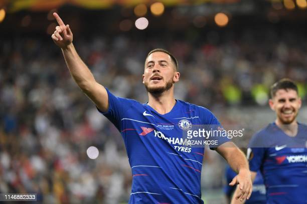 Chelsea's Belgian midfielder Eden Hazard celebrates after celebrates after scoring a goal during the UEFA Europa League final football match between...