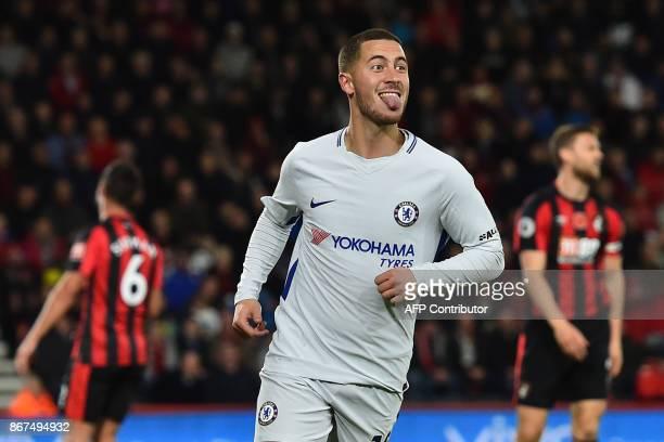 Chelsea's Belgian midfielder Eden Hazard celebrates after scoring the opening goal of the English Premier League football match between Bournemouth...