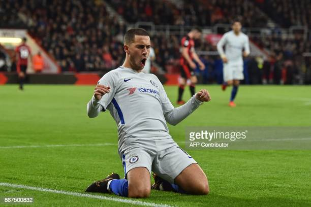 Chelsea's Belgian midfielder Eden Hazard celebrates after scoring the opening goal of the English Premier League football match between Bournemouth...