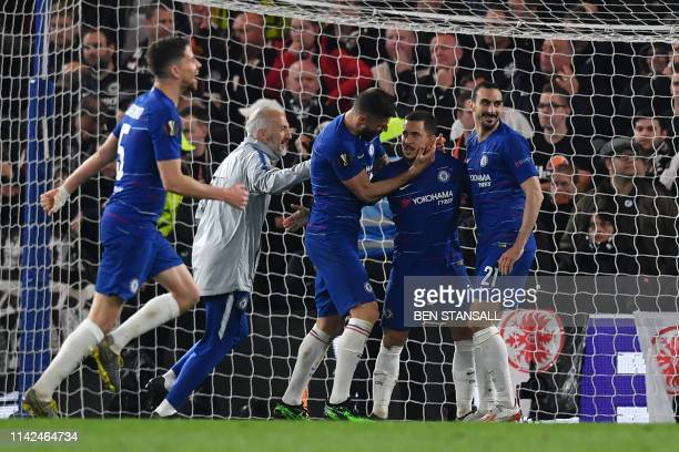 Chelsea's Belgian midfielder Eden Hazard celebrates his goal in the penalty shootout during the UEFA Europa League semifinal second leg football...