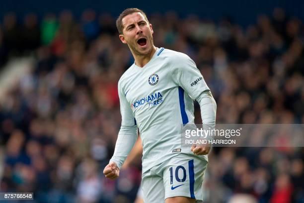 Chelsea's Belgian midfielder Eden Hazard celebrates scoring his team's second goal during the English Premier League football match between West...