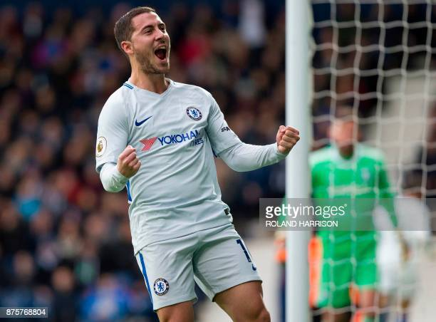 Chelsea's Belgian midfielder Eden Hazard celebrates scoring his team's second goal during the English Premier League football match between West...