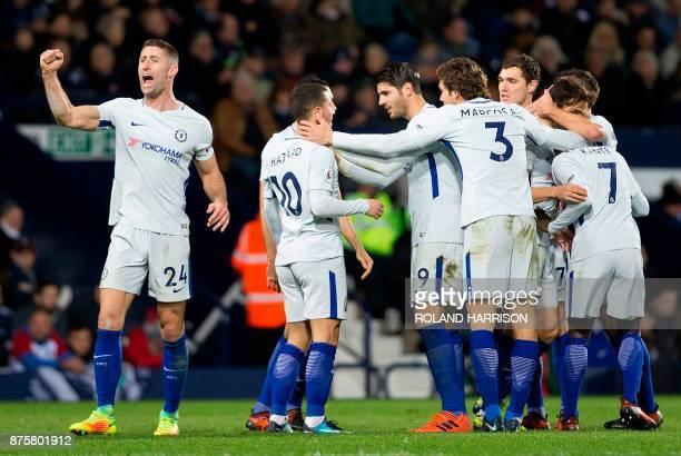 Chelsea's Belgian midfielder Eden Hazard celebrates scoring his team's fourth goal during the English Premier League football match between West...