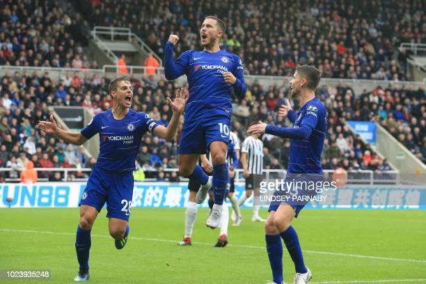 Chelsea's Belgian midfielder Eden Hazard celebrates scoring the opening goal during the English Premier League football match between Newcastle...