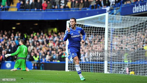Chelsea's Belgian midfielder Eden Hazard celebrates scoring the opening goal during the English Premier League football match between Chelsea and...