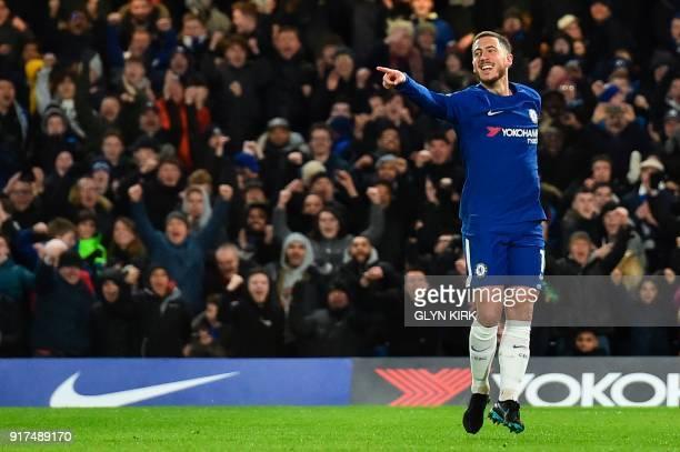 Chelsea's Belgian midfielder Eden Hazard celebrates scoring the opening goal during the English Premier League football match between Chelsea and...