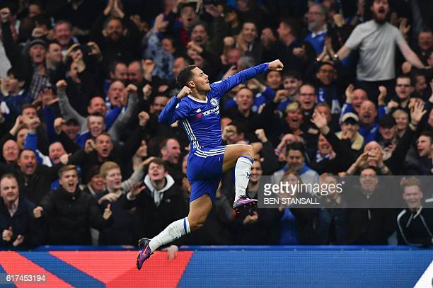 Chelsea's Belgian midfielder Eden Hazard celerbates scoring their third goal during the English Premier League football match between Chelsea and...