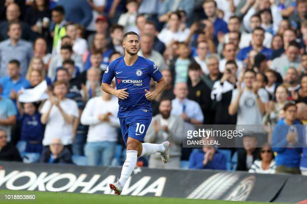 Chelsea's Belgian midfielder Eden Hazard comes on as a substitute during the English Premier League football match between Chelsea and Arsenal at...