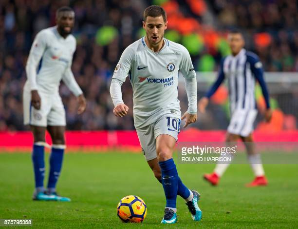 Chelsea's Belgian midfielder Eden Hazard controls the ball during the English Premier League football match between West Bromwich Albion and Chelsea...