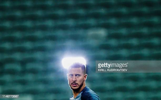 Chelsea's Belgian midfielder Eden Hazard looks on during a training session at the Baku Olympic Stadium in Baku on May 28 on the eve of the UEFA...