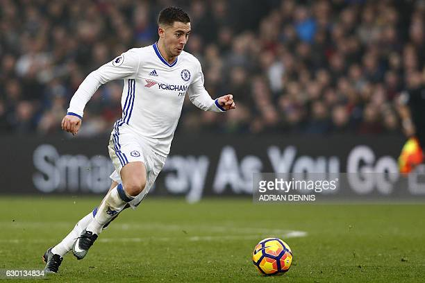 Chelsea's Belgian midfielder Eden Hazard makes a run at goal but fails to score during the English Premier League football match between Crystal...