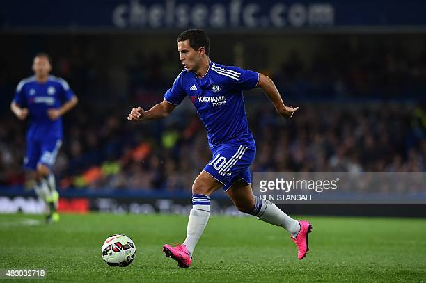 Chelsea's Belgian midfielder Eden Hazard runs with the ball during the preseason friendly International Champions Cup football match between Chelsea...