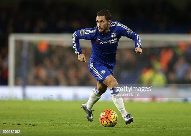 Chelsea's Belgian midfielder Eden Hazard runs with the ball during the English Premier League football match between Chelsea and Bournemouth at...