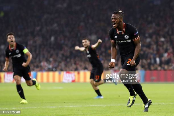 Chelsea's Belgian striker Michy Batshuayi celebrates after scoring a goal during the UEFA Champions League Group H football match between Ajax...