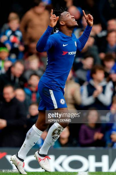 Chelsea's Belgian striker Michy Batshuayi celebrates after scoring the opening goal of the English FA Cup fourth round football match between Chelsea...