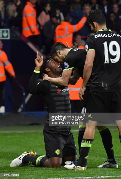 Chelsea's Belgian striker Michy Batshuayi celebrates scoring the opening goal during the English Premier League match between West Bromwich Albion...