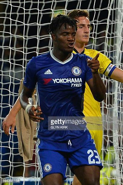Chelsea's Belgian striker Michy Batshuayi celebrates scoring their third goal during the English League Cup second round football match between...