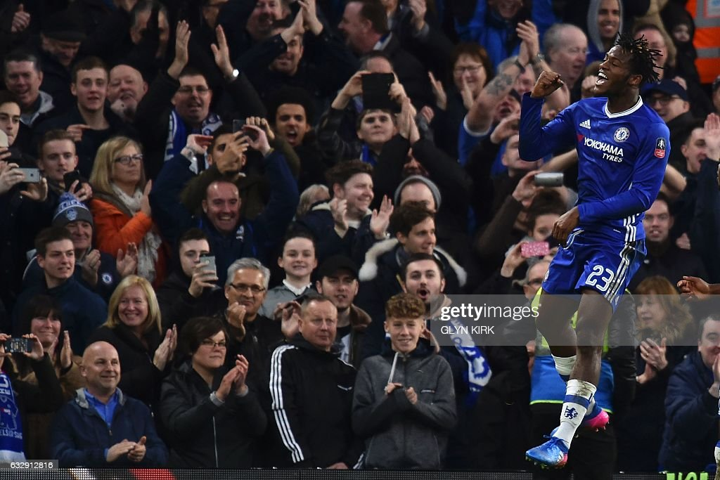 Chelsea's Belgian striker Michy Batshuayi celebrates scoring their fourth goal during the English FA Cup fourth round football match between Chelsea and Brentford at Stamford Bridge in London on January 28, 2017. / AFP / Glyn KIRK / RESTRICTED TO EDITORIAL USE. No use with unauthorized audio, video, data, fixture lists, club/league logos or 'live' services. Online in-match use limited to 75 images, no video emulation. No use in betting, games or single club/league/player publications. /