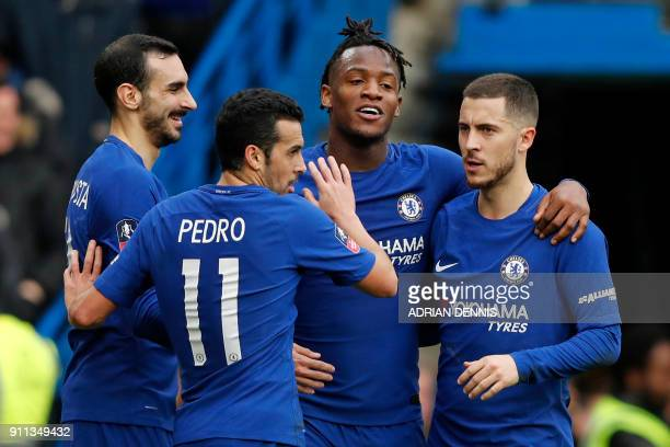 Chelsea's Belgian striker Michy Batshuayi celebrates with teammates after he scores their second goal of the English FA Cup fourth round football...