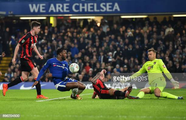 Chelsea's Belgian striker Michy Batshuayi misses a chance at goal during the English League Cup quarterfinal football match between Chelsea and...